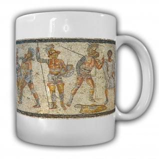 Tasse Zliten Mosaik Gladiator Bild Kunst Stadt Zliten Antike Kampf #17912