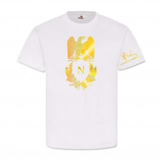 Napoleon Bonaparte Wappen Unterschrift Abzeichen Adler Logo Gold T Shirt #25081