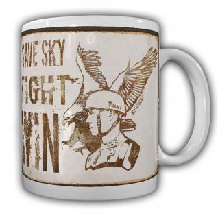 Tasse Save the sky Kaffeebecher Fallschirmspringer Retro Deutschland Blech#22090