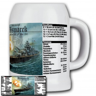 Schlachtschiff Bismarck mit Daten Marine Geschütz - Krug/Bierkrug 0, 5l #14927
