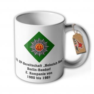 Tasse Bereitschaft Volkspolizei Heinrich Rau Berlin Basdorf Komapnie DDR #37028