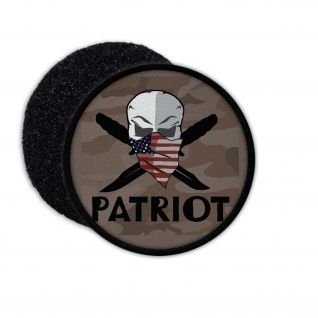 US Patriot Patch USA Militär Skull Messer Army Aufnäher Einheit Legende #23163