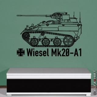 Wiesel Mk20 A1 Bundeswehr Kettenfahrzeug - Aufkleber (schwarz ca. 64x45cm) #7977
