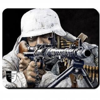 Mauspad Lukas Wirp MG34 Schütze Soldat Gemälde Kunst Militaria Gewehr #23417