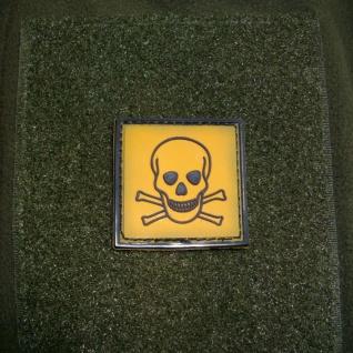 Tactical Toxic Totenschädel Gefahr Totenkopf 3D Rubber Patch 4x4cm #16272