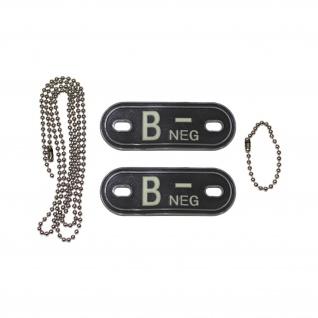 Dog Tag Blutgruppe B-Neg Negativ Kette 3d Rubber Armee Luftwaffe 2, 5x7cm #20492