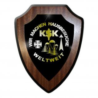 Wappenschild / Wandschild - KSK Wir Machen Hausbesuche Weltweit Kommando Spezialkräfte Einheit Einsatz Bundeswehr Deutschland Militär Emblem #18867