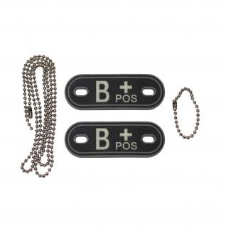 Dog Tag Blutgruppe B+ Pos Positiv Notfall Kette 3d Rubber Us army 2, 5x7cm #20491 - Vorschau 1