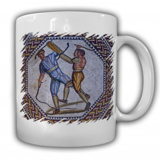 Tasse Nennig Mosaik Gladiatorenkampf Bild Antike Kunst Römer Ausgrabung #17913