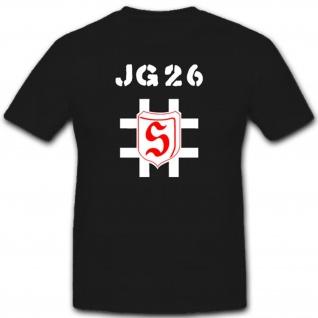 Jagdgeschwader Militär Luftwaffe WH Einheit Wappen Jg26 Jg 26- T Shirt #2063