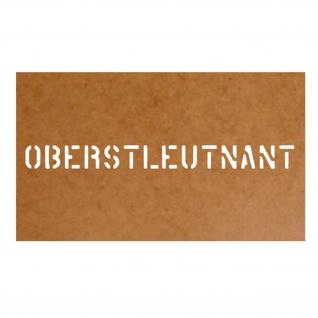 Oberstleutnant Dienstgrad Militär Ölkarton Lackierschablone 2, 5x29 cm #15316