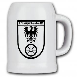 Krug / Bierkrug 0, 5l - 3 Transportbataillon 143 Kompanie Wappen BW #17988