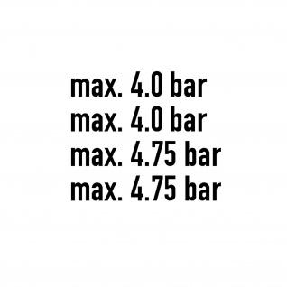Aufkleber Reifendruck 4, 0 4.75 bar Radlader LKW Bagger Luftdruck 4x4cmx23cm #A5778