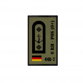 Patch BW Blutgruppen Patch OR-7 0 RH - POS 0+ Bundeswehr ISAF 9, 8x6cm #30770