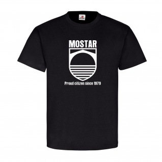 Mostar 1979 Bosnien Herzegowina Neretva Stadt Wappen Abzeichen T-Shirt #19552