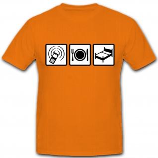 Handy Essen Schlafen Smartphone Fressen Bett Fun Spaß Humor - T Shirt #5041