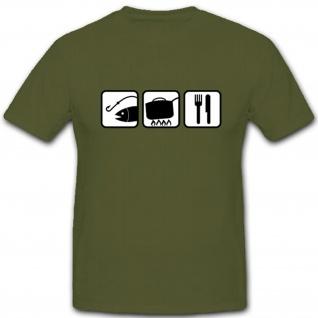 Angeln Kochen Essen Fun Humor Spaß- T Shirt #3880