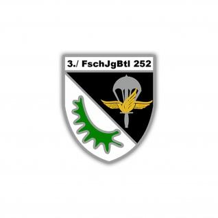 Aufkleber/Sticker 3. FschJgBtl 252 Wappen Abzeichen BW Heer 7x6cm A1252