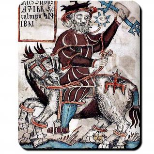 Odin auf Sleipnir Isländische Eddahandschrift 1867 Olafur 1760 Mauspad #16090
