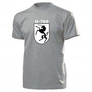 U763 U-Boot Turmwappen Einhorn Marine Emblem Abzeichen T Shirt #15026