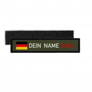 Namenschild Deutschland Blutgruppe 0 Rh positiv Bundeswehr BW Patch #32977