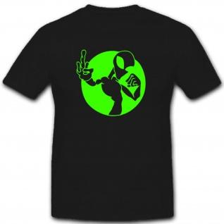 Alien fuck off Außerirdischer Mittelfinger Fun Humor Spaß - T Shirt #4009