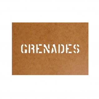 Grenades Schablone Bundeswehr Ölkarton Lackierschablone 2, 5x16cm #15168