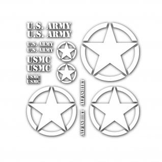 US Auto Sticker Set Army USMC USA Stern Militär Aufkleber Beschriftung #A4698