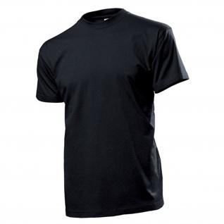 T-Shirt schwarz Herren Rundhals 100% Ringspinn-Baumwolle Jersey 185 g-m² #12823
