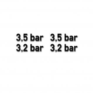 3, 5 und 3, 2 bar Reifendruck Aufkleber Geländewagen Luftdruck 4x 6x1, 5cm #A5286