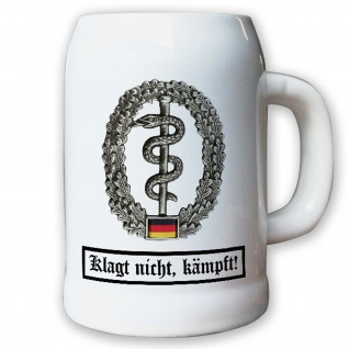 Krug / Bierkrug 0, 5l - Barettabezeichen Sanitäter Sanitätsabzeichen #11822
