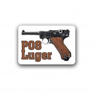 P08 Luger Parabellum Pistole Aufkleber Sticker Waffe 9mm 10x7cm#A3680