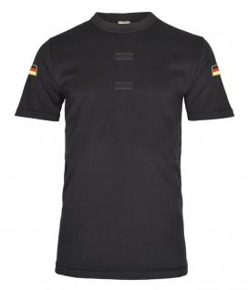 Schwarzes BW Tropen Shirt Bundeswehr Klett Unterhemd Deutschland Flagge #20606