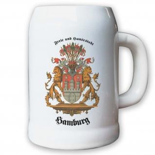 Krug / Bierkrug 0, 5l - frei und Hansestadt Hamburg BRD Stadtwappen Wappen #9409