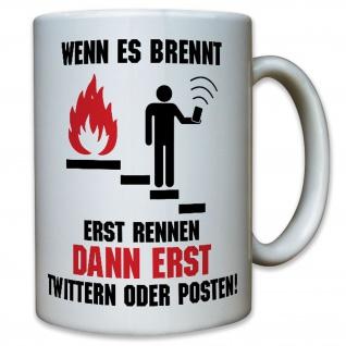 Twitter Facebook Social Media Feuermelder BMA Rauchmelder - Tasse #10601