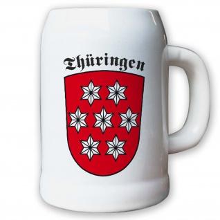 Krug / Bierkrug 0, 5l - Thüringen Bundesland Landeswappen Wappen Abzeichen #9471