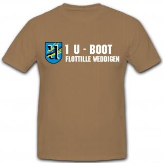 1. U-Boot Flotille Weddingen Unterseeboot deutsche Marine Wappen - T Shirt #1653