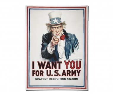 Poster Uncle America we want you Recruiting Station Us Army ab 30x22cm #30842