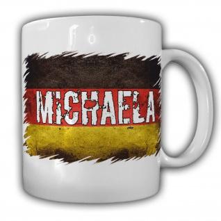 Tasse Michaela Kaffebecher Deutschland Teebecher Schwarz Rot Gold Name #22193