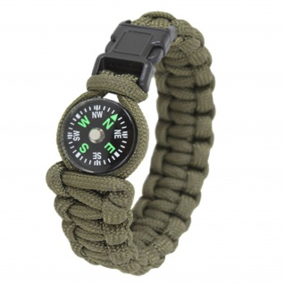 "Paracord Kompass Survival Armband oliv Größe L 9"" (Länge = 23cm) Schmuck #13406"