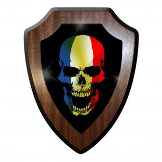 Wappenschild / Wandschild -Frankreich Skull France Totenschädel #9748