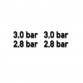 3, 0 und 2, 8 bar Reifendruck Aufkleber 1cm hoch schwarz matt Off-road A5375