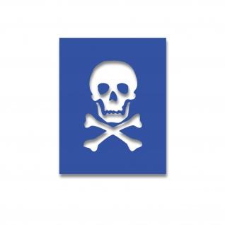 Lackierschablonen-Aufkleber Totenkopf Gefährlich Danger Stencil 10x7cm #A4462