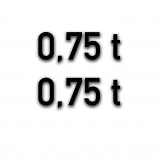 Aufkleber Reifendruck 0, 75t PKW-Anhänger Beschriftung 2cm #A5109