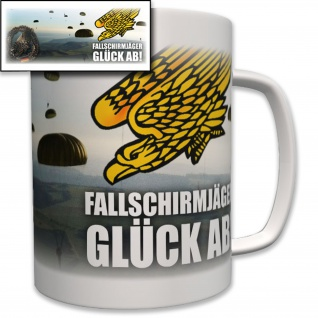 Tasse Fallschirmjäger Glück ab! Barettabzeichen Fallschirm Wappen Emblem #6980
