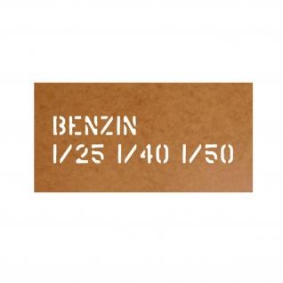 Ölkarton Lackierschablone Benzin 1-25 1-40 1-50 Mischung Tank 6x24cm #17775