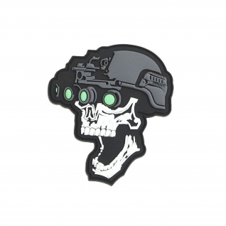 3D Rubber Patch Black Night vision Ops skull Polizei Sek Airsoft 10x9cm#37038