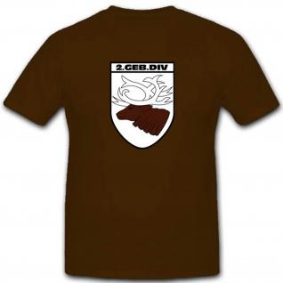 Gebdiv 2 Gebirgsdivision Wk Wappen Abzeichen Großverband - T Shirt #3508