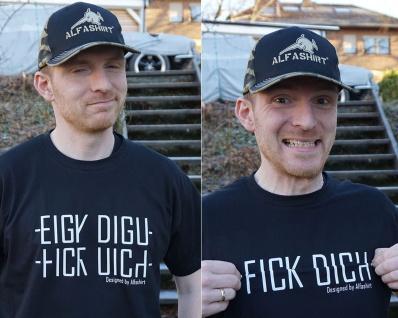 Fick Dich Fun Humor Demo Spaß Schimpfwort Falt Schrift ALFASHIRT T-Shirt #19922 - Vorschau 2