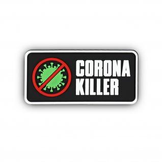 3D Rubber Patch Coronakiller Abzeichen Klett 4x9cm#37032
